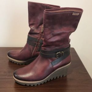 ♥️ Pikolino Red Leather Wedge Boots - New!Size 37